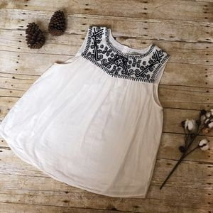 Lucky Brand Embroidered Navy and Cream Tank Top